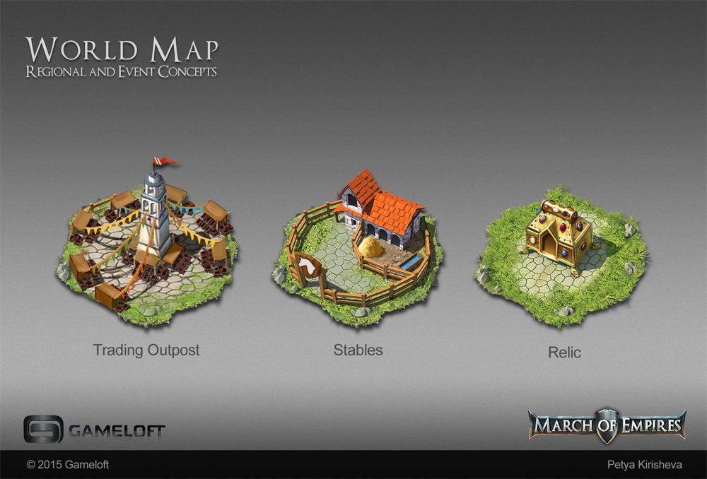 Artstation world map concepts and buildings petya kirisheva concepts for regional buildings and event tile for the world map of a mobile strategy game gumiabroncs Gallery