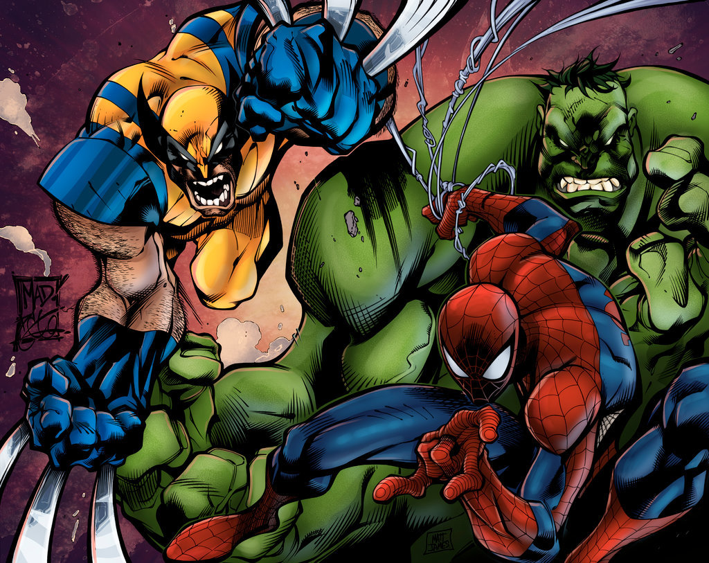 Matt james joe madureira rules wolvie spidey and the hulk by mattjamescomicarts d97pxxh