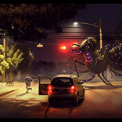 Travis lacey monster nighttime concept art conceptart design conceptual artist designer alien creature dog man saving streetlight corner web