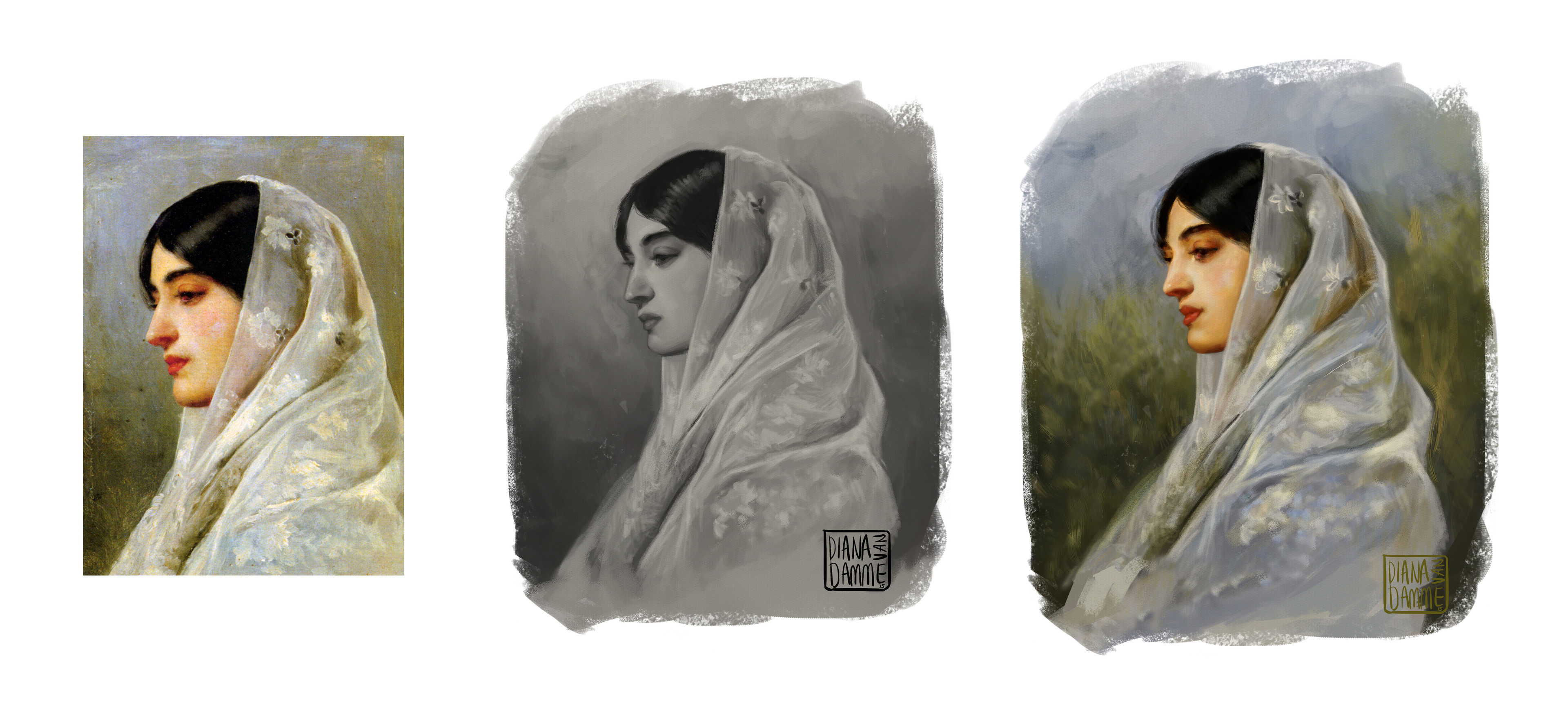 Original, followed by my greyscale rough, and my color study.
