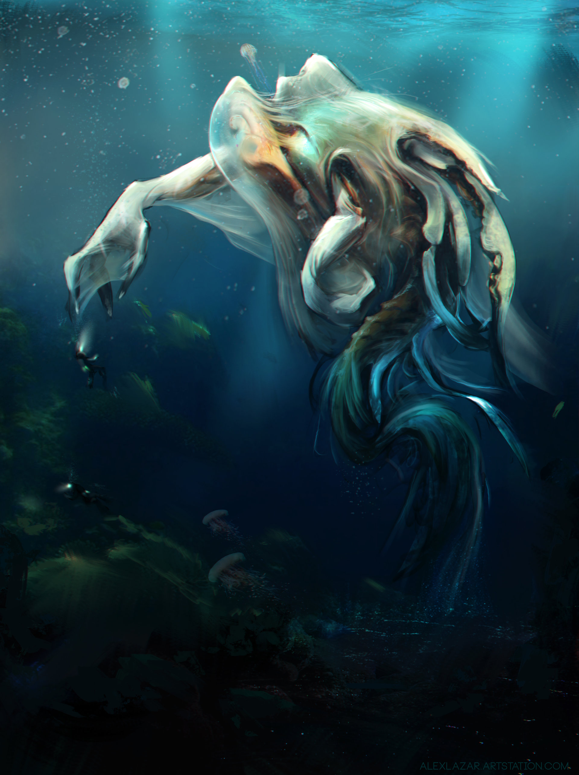 Alex lazar aquatic alien creature thing fin