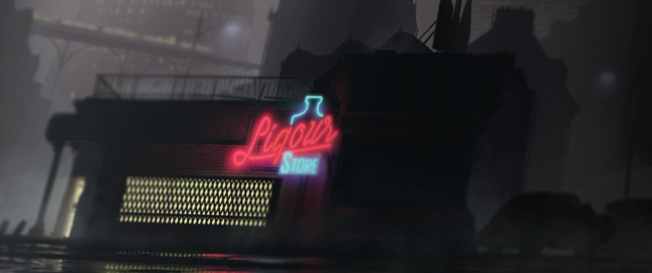 Gediminas skyrius liqour store blurred