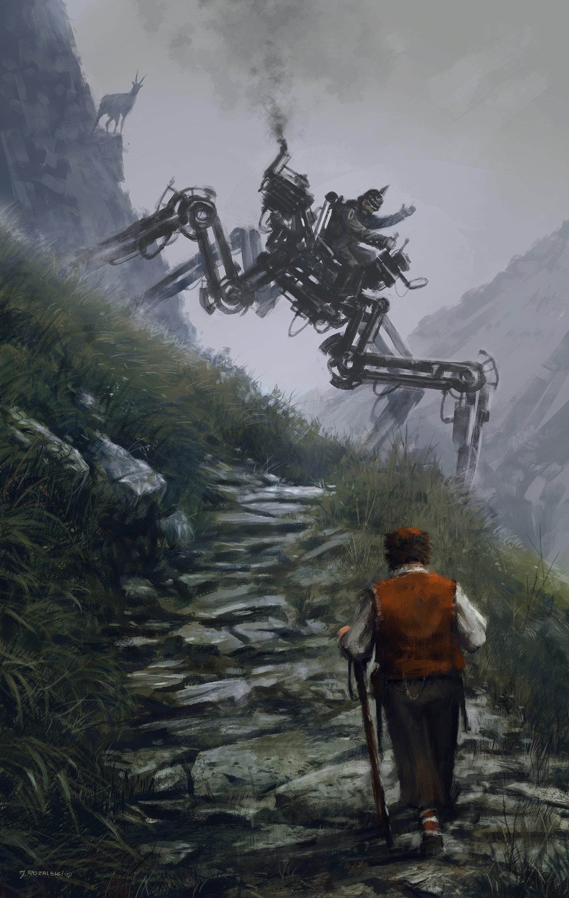 Jakub rozalski factory illustration 02 mountainwalkerls