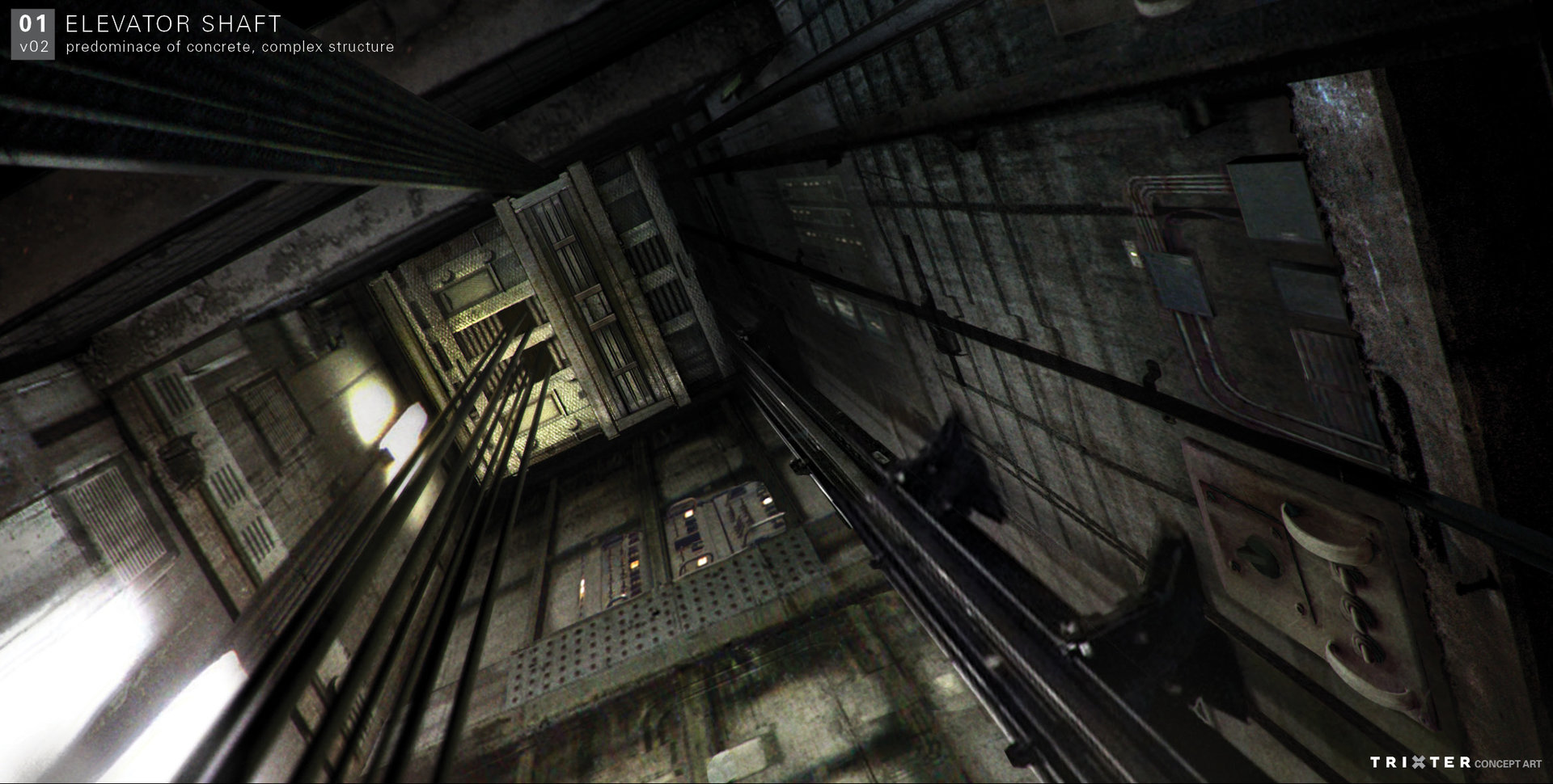 Concept for the elevator shaft leading to Doctor Zola's Room