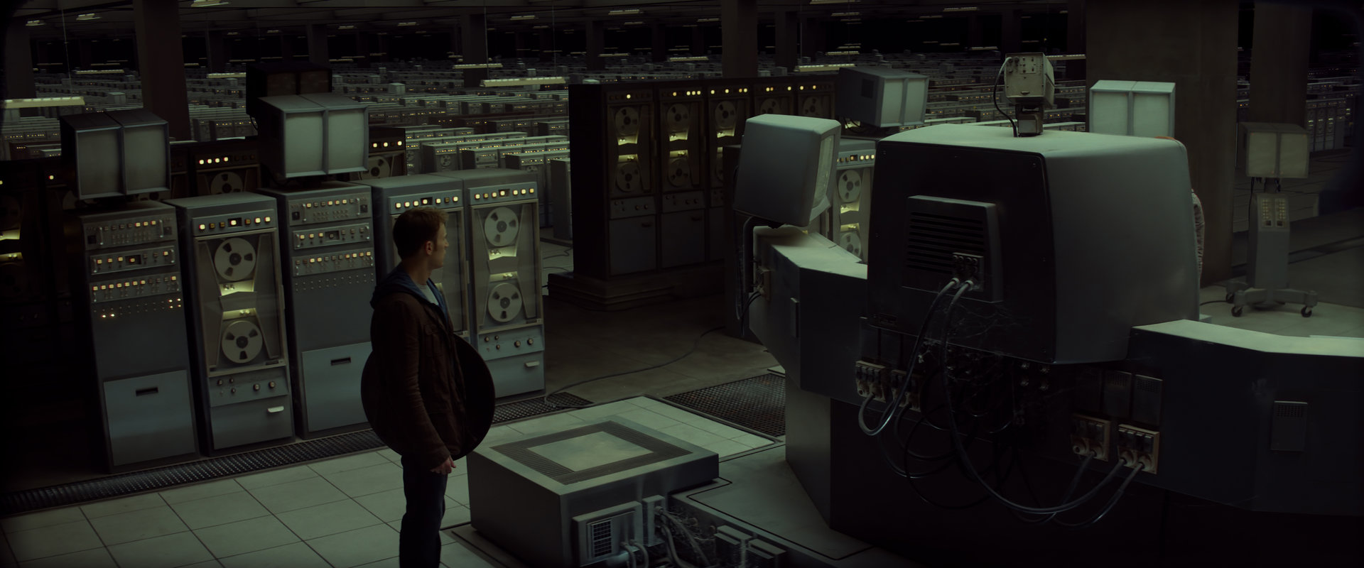Extension of the live action plate (which includes characters and foreground) with never-ending rows of ancient computers, which form the digital brain of the deceased Doctor Zola.