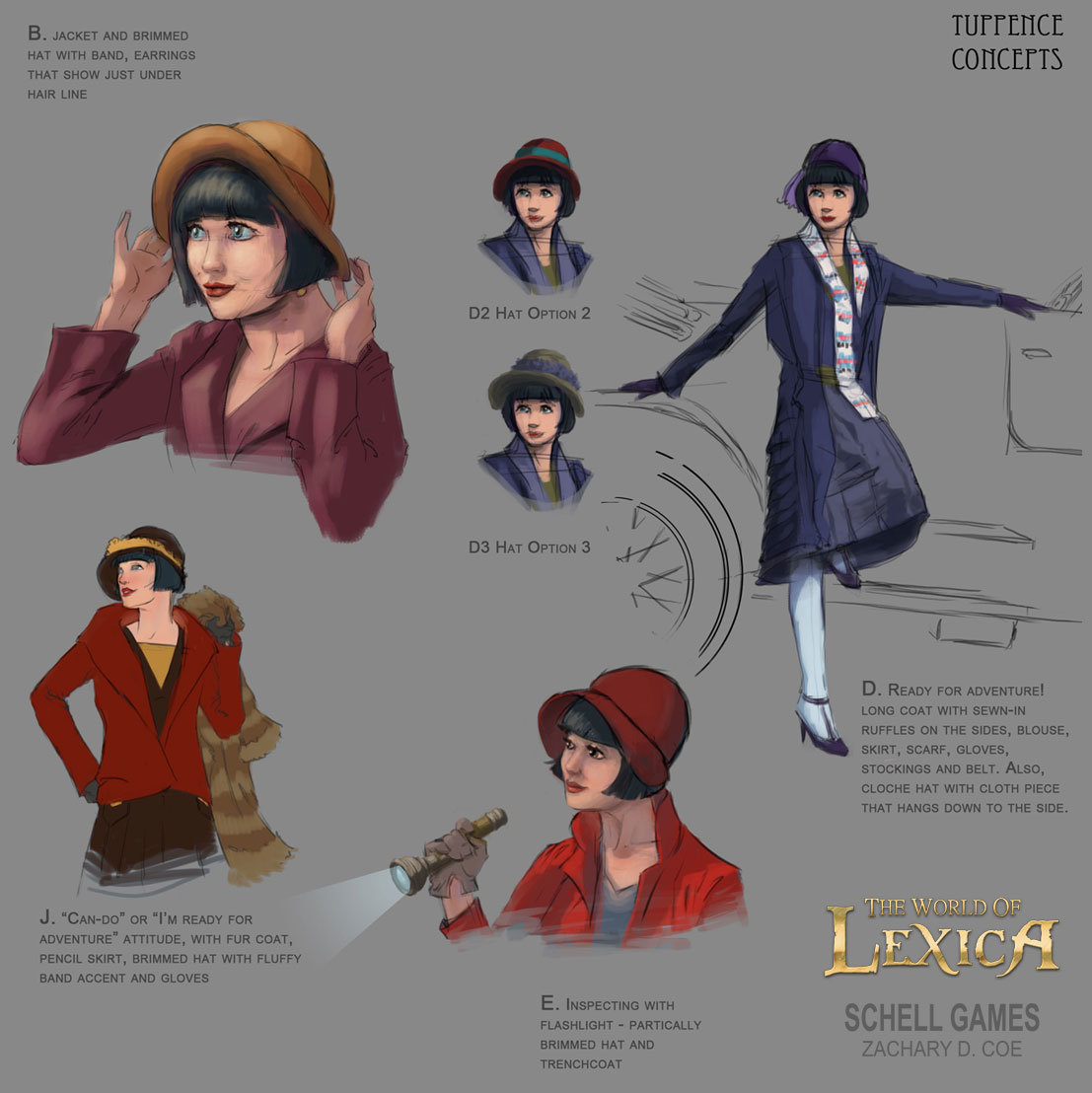 TUPPENCE COWLEY Concept Sketches by Zachary D. Coe