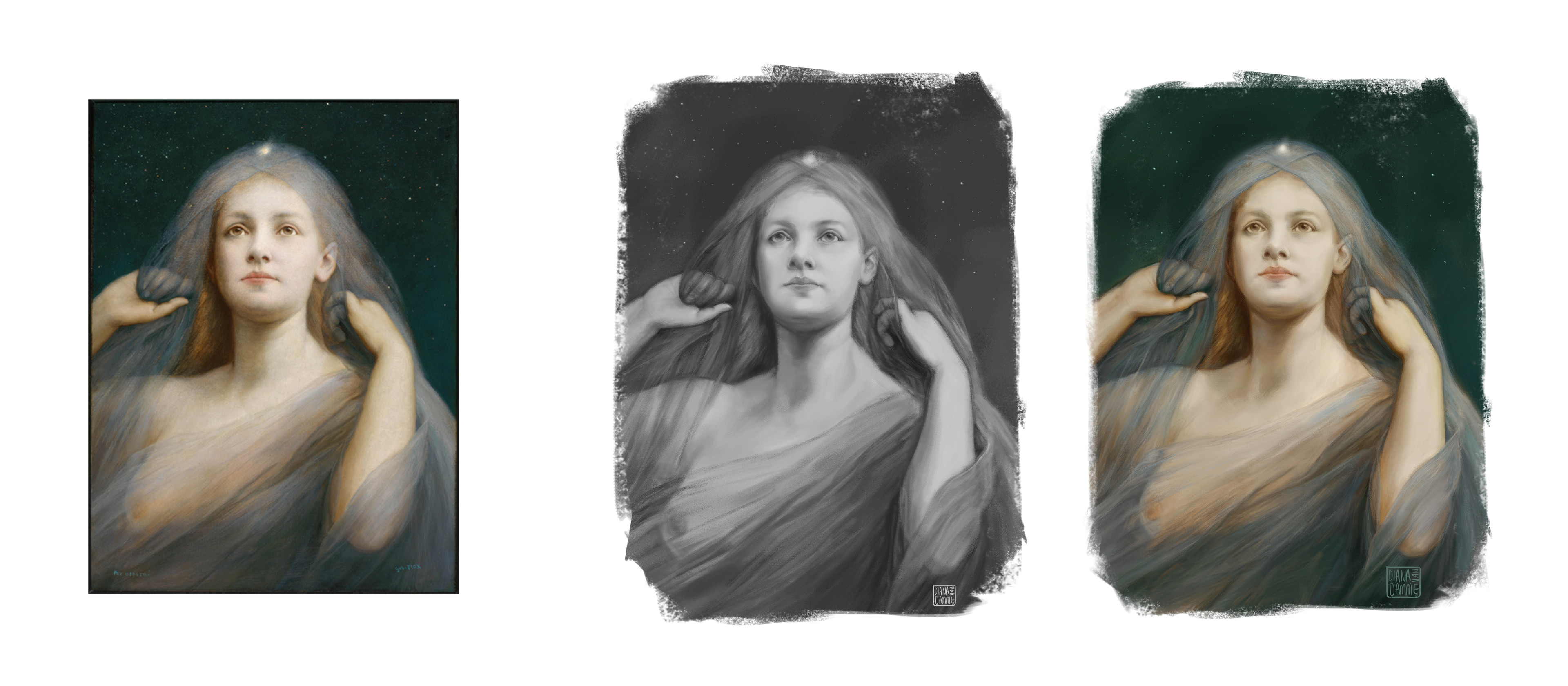 Left: Original by Gabriel Von Max, Center: My grayscale study, Right: My color study