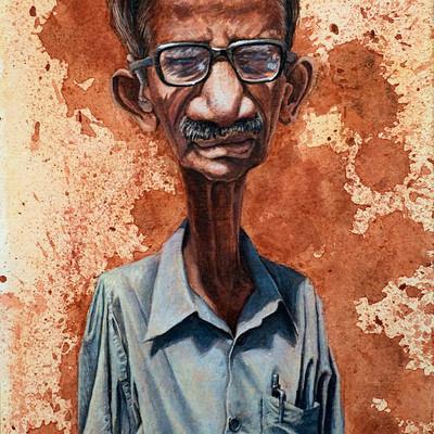 Tomek larek rajan portret akwarela akryl