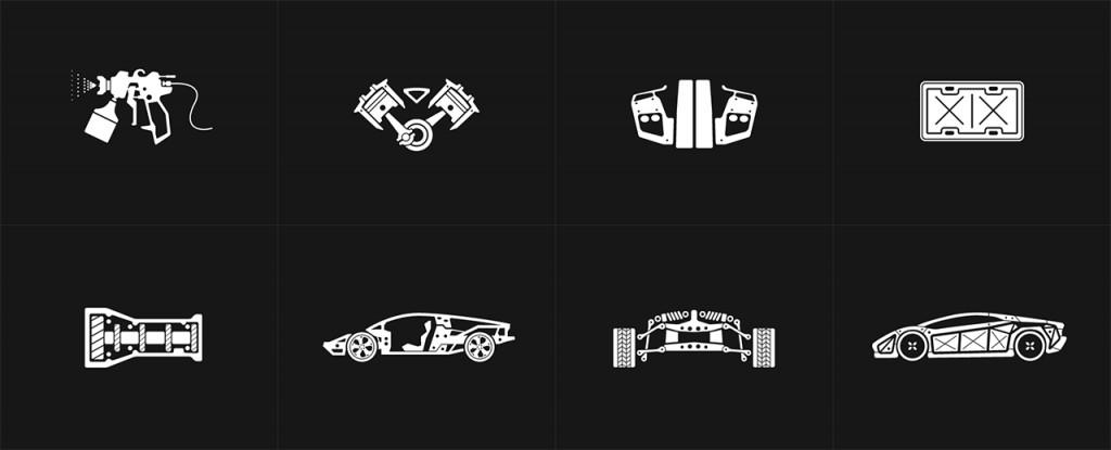 Car customization icons.