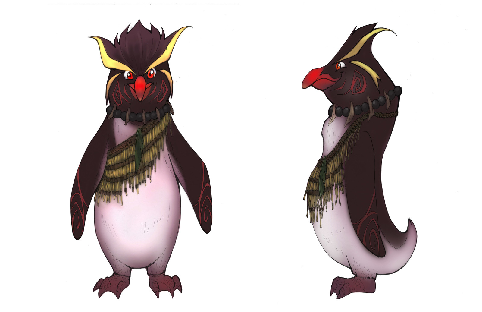 Southern Rockhopper Penguin, male, inspired by Maori tribes in New Zealand.