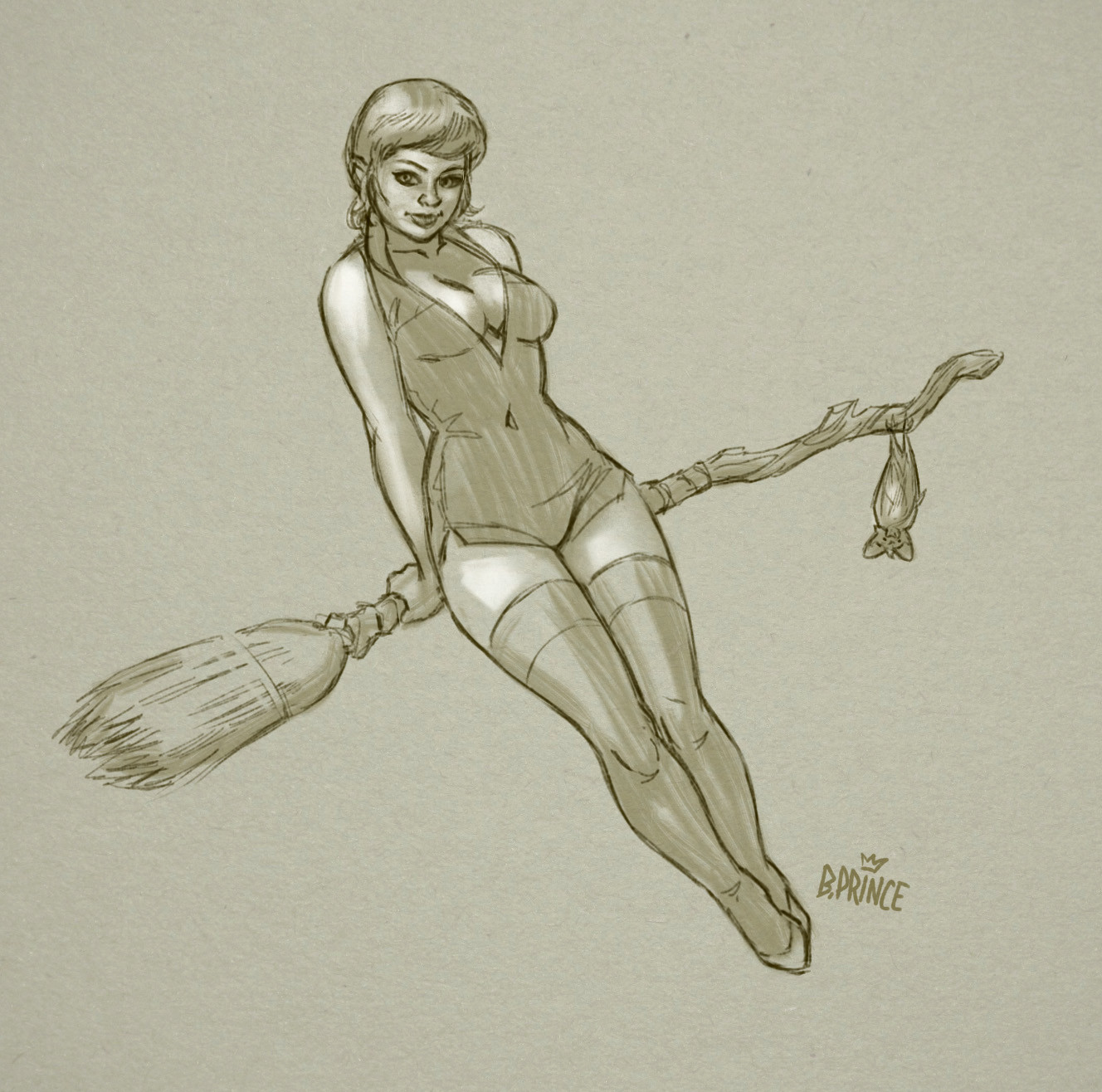 quick Halloween retro pin-up
