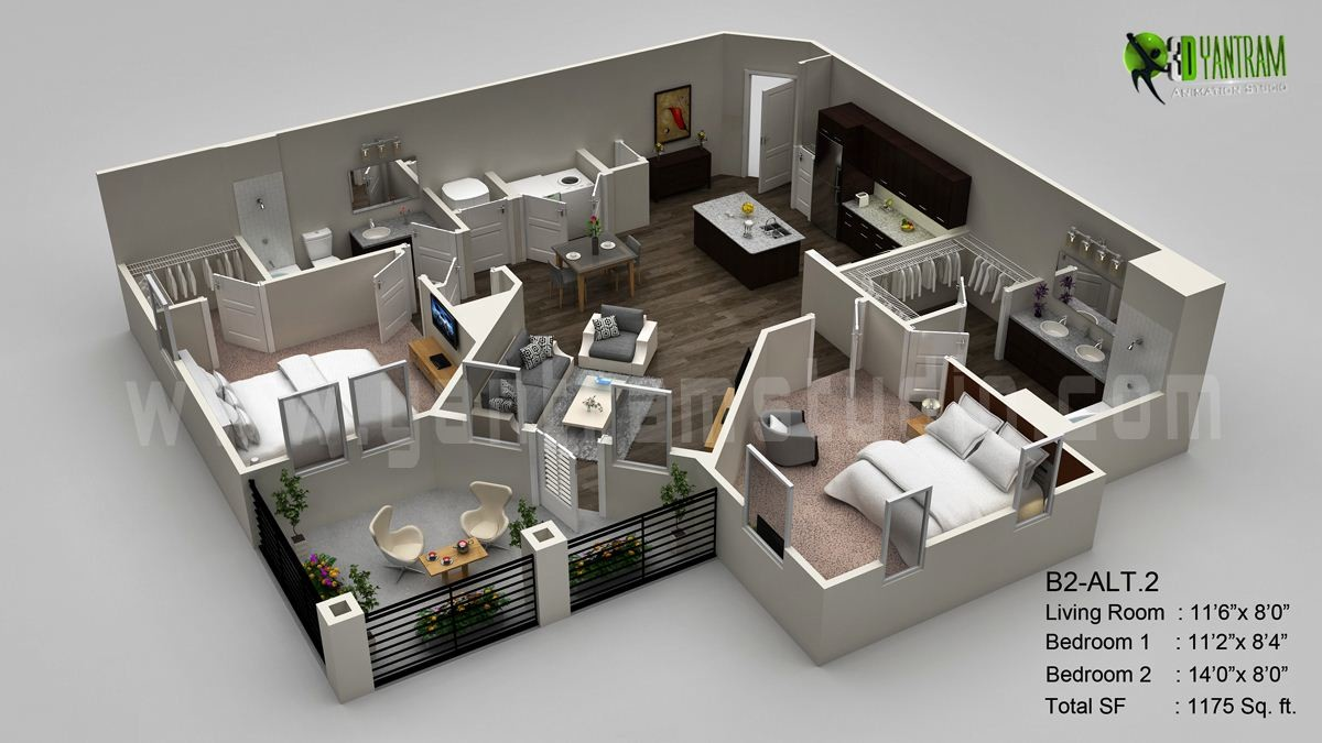 Beautiful Modern 3D Floor Plan Visualization