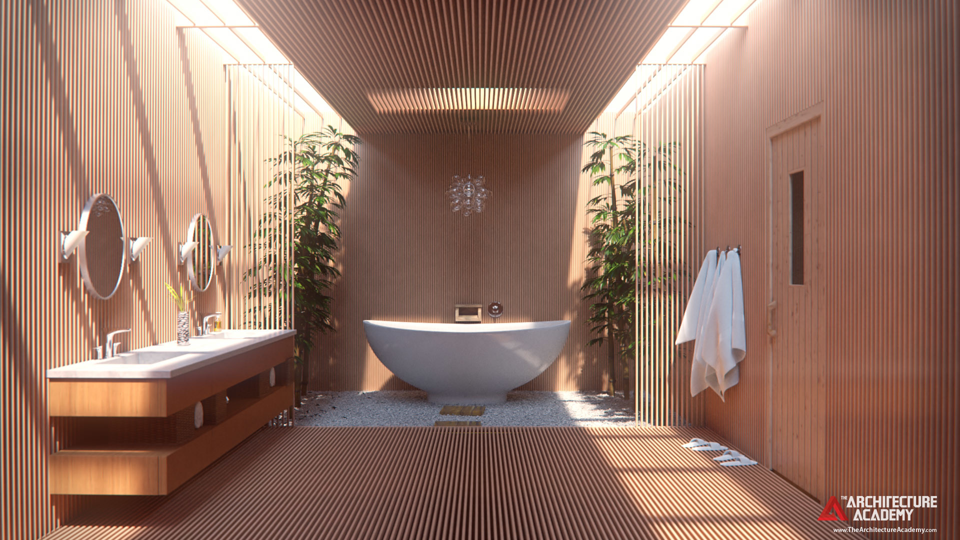 ArtStation - Modern Japanese Bathroom, Andrew Price