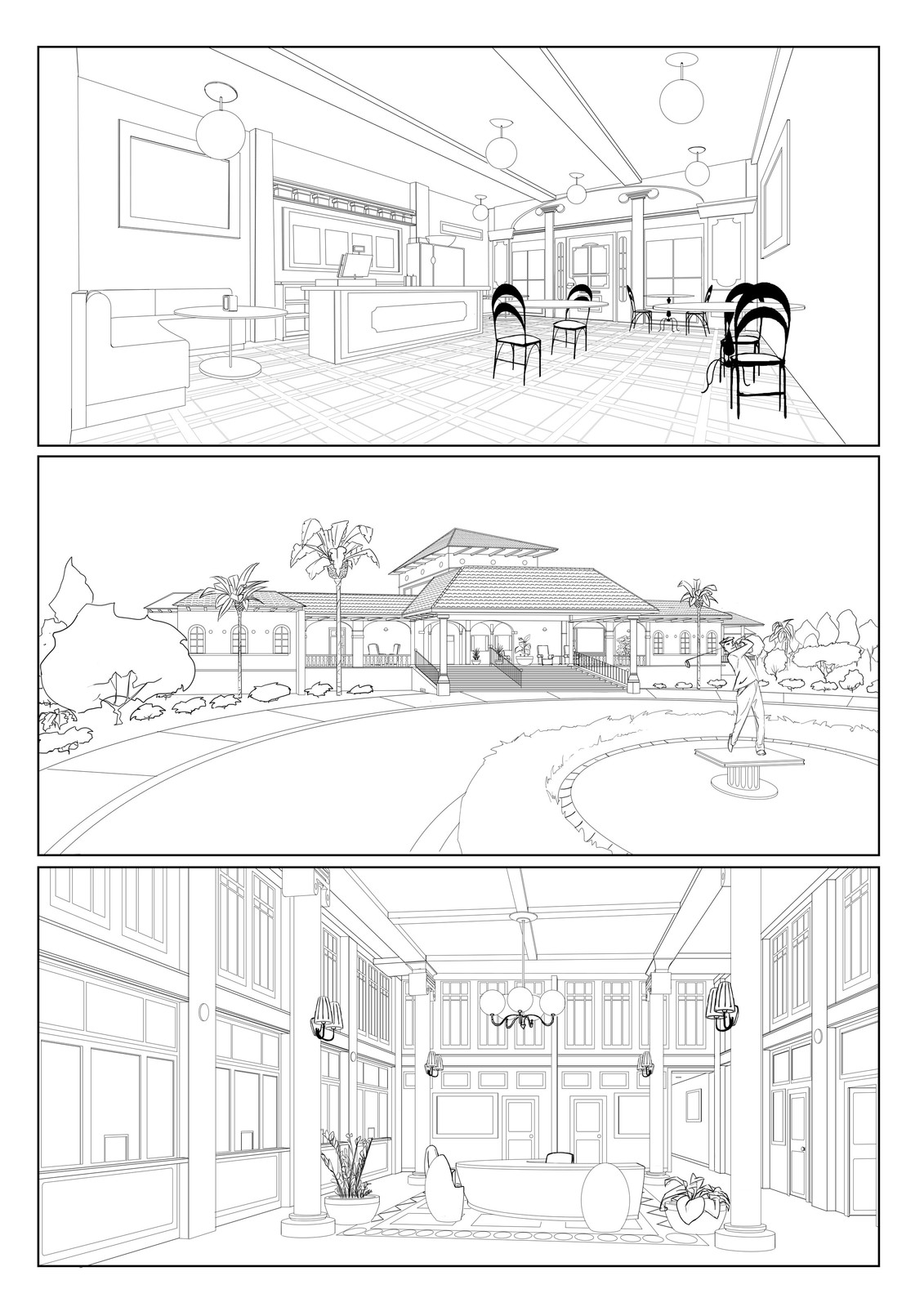 Background designs for TV series 'Four and A Half Friends'