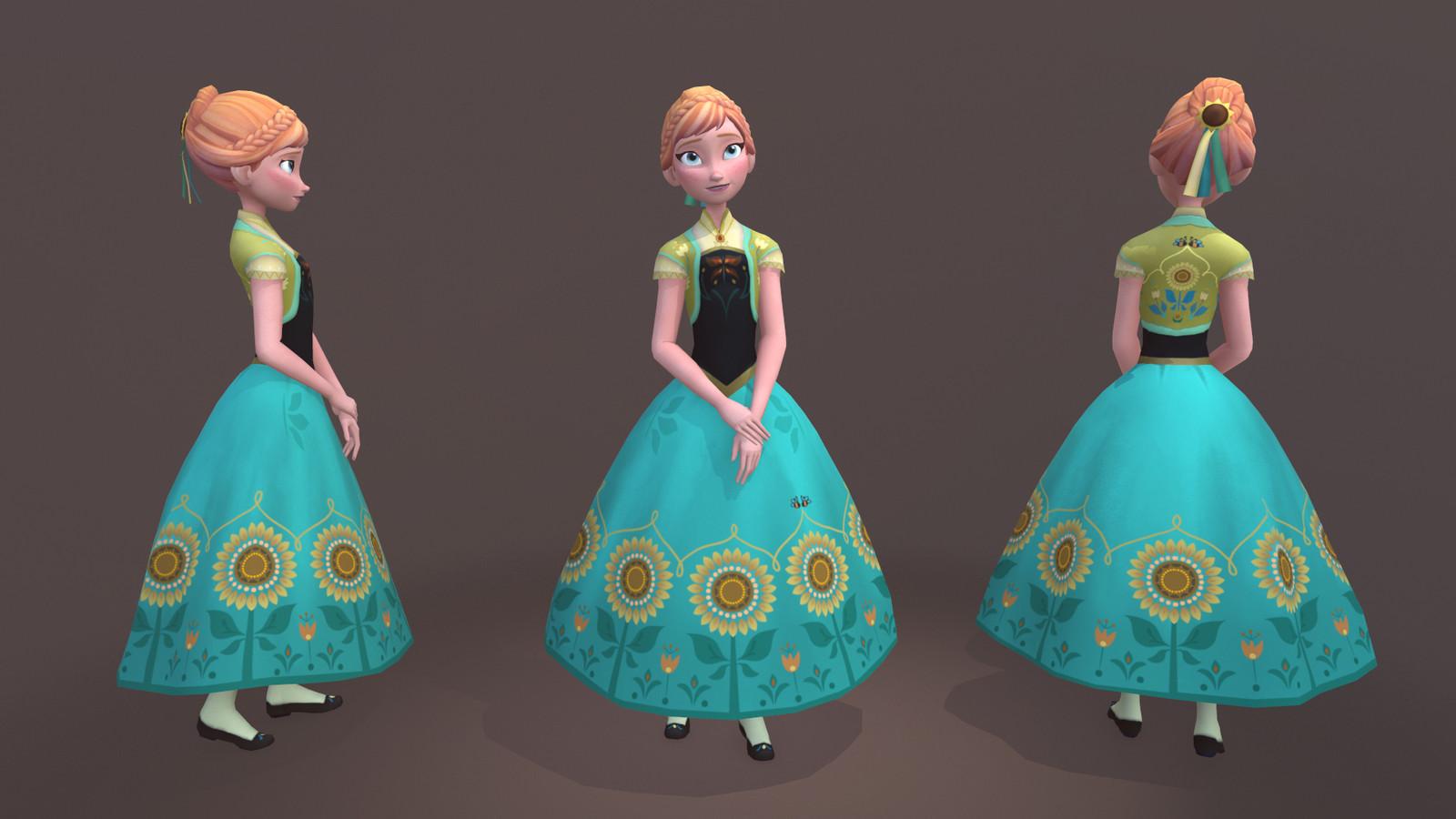 Disney Frozen: Anna Low Poly Model