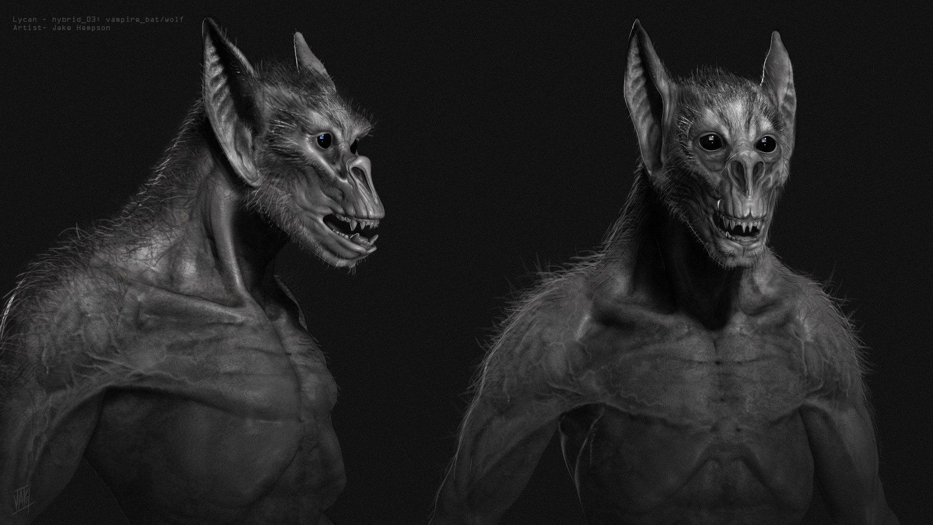 Lycan/Vampire hybrid sculpt- sketch and  paint over.