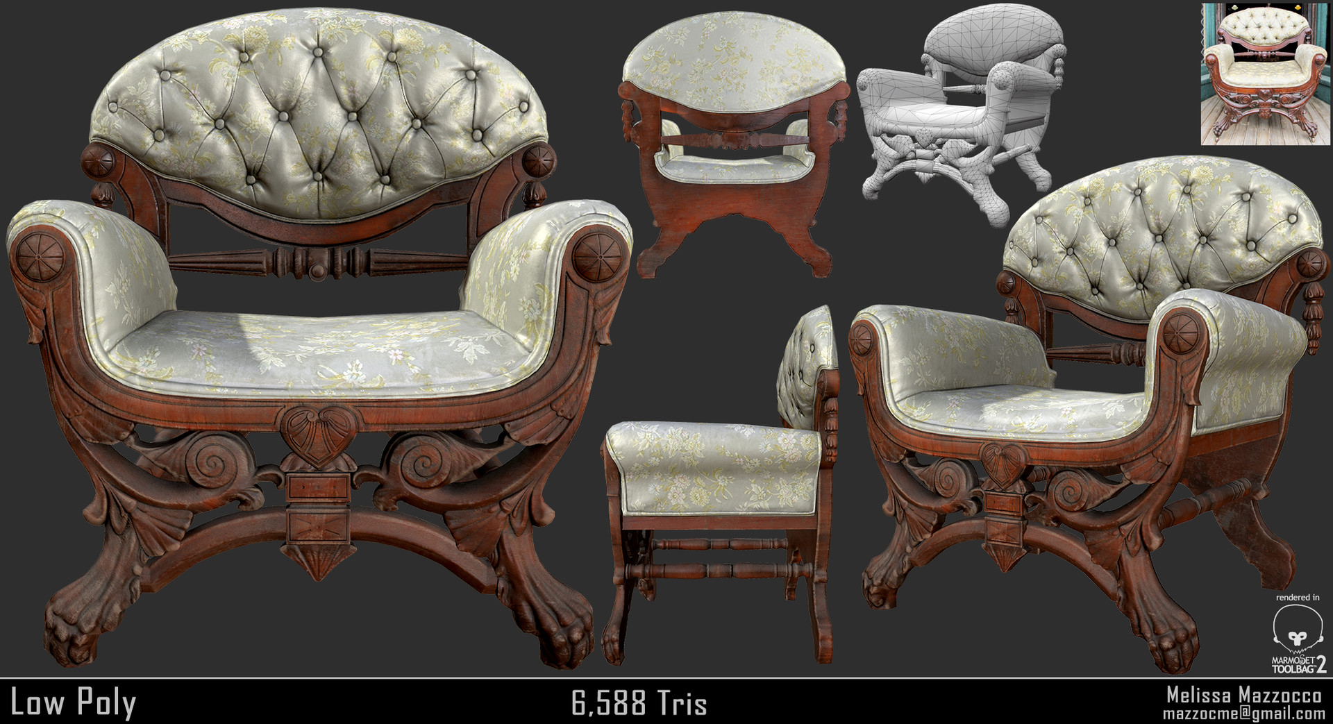 Melissa mazzocco victorian boudoir chair low poly