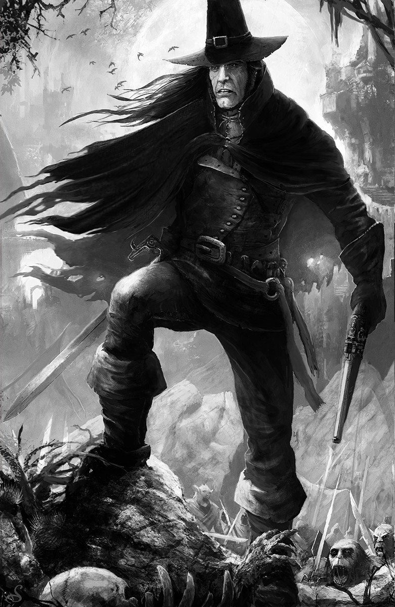 Sebastien ecosse 6 solomon kane robert e howard illustration sebastien ecosse standalone fanart fini black and white