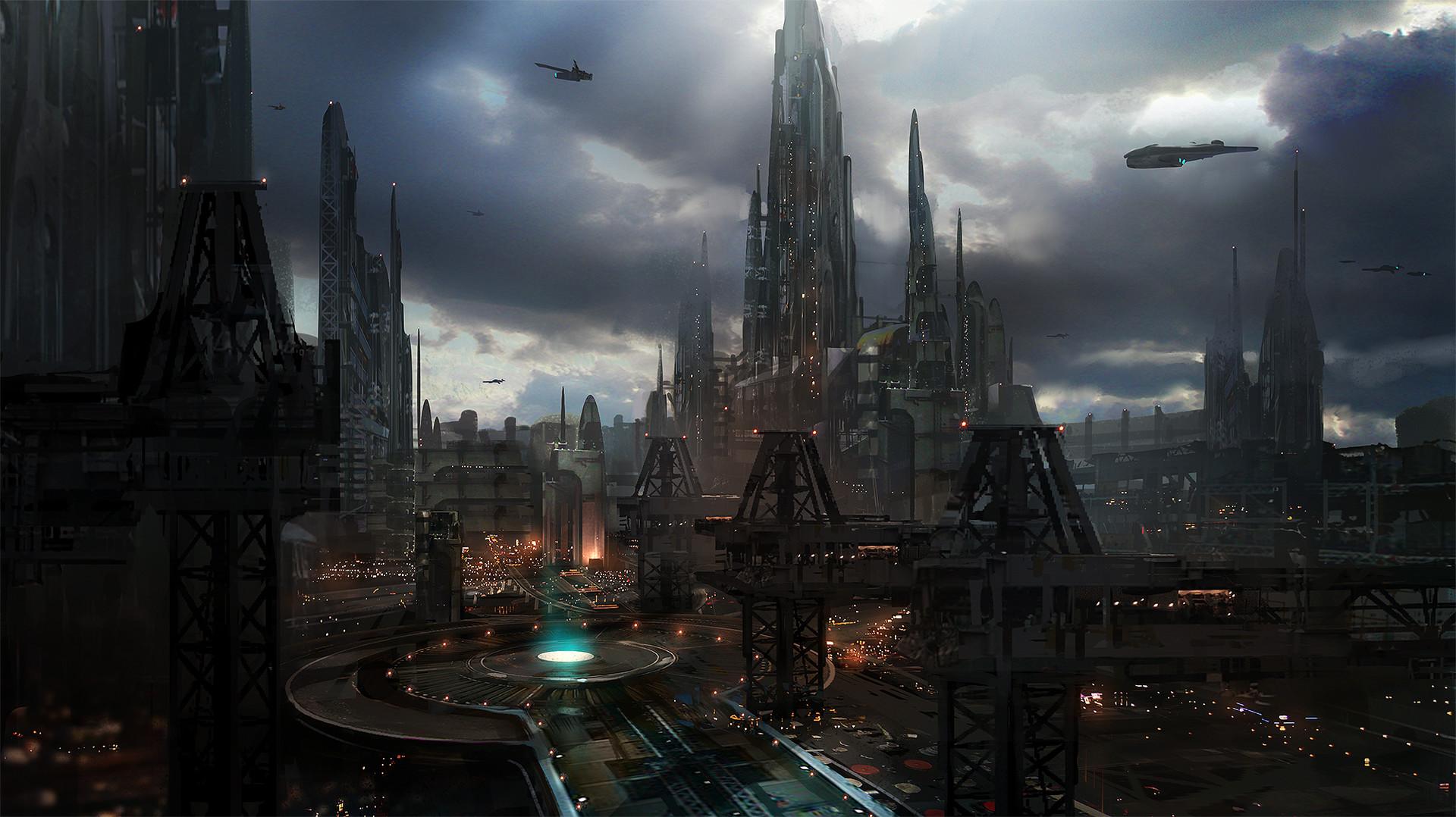 ArtStation - Sci-fi city scape concept art - class demo, James Paick
