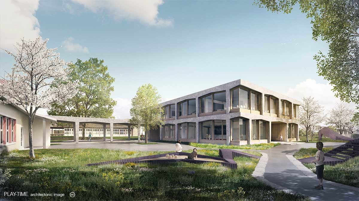 Play time architectonic image rharchitekten primary school and kindergarden aarau 2n prize