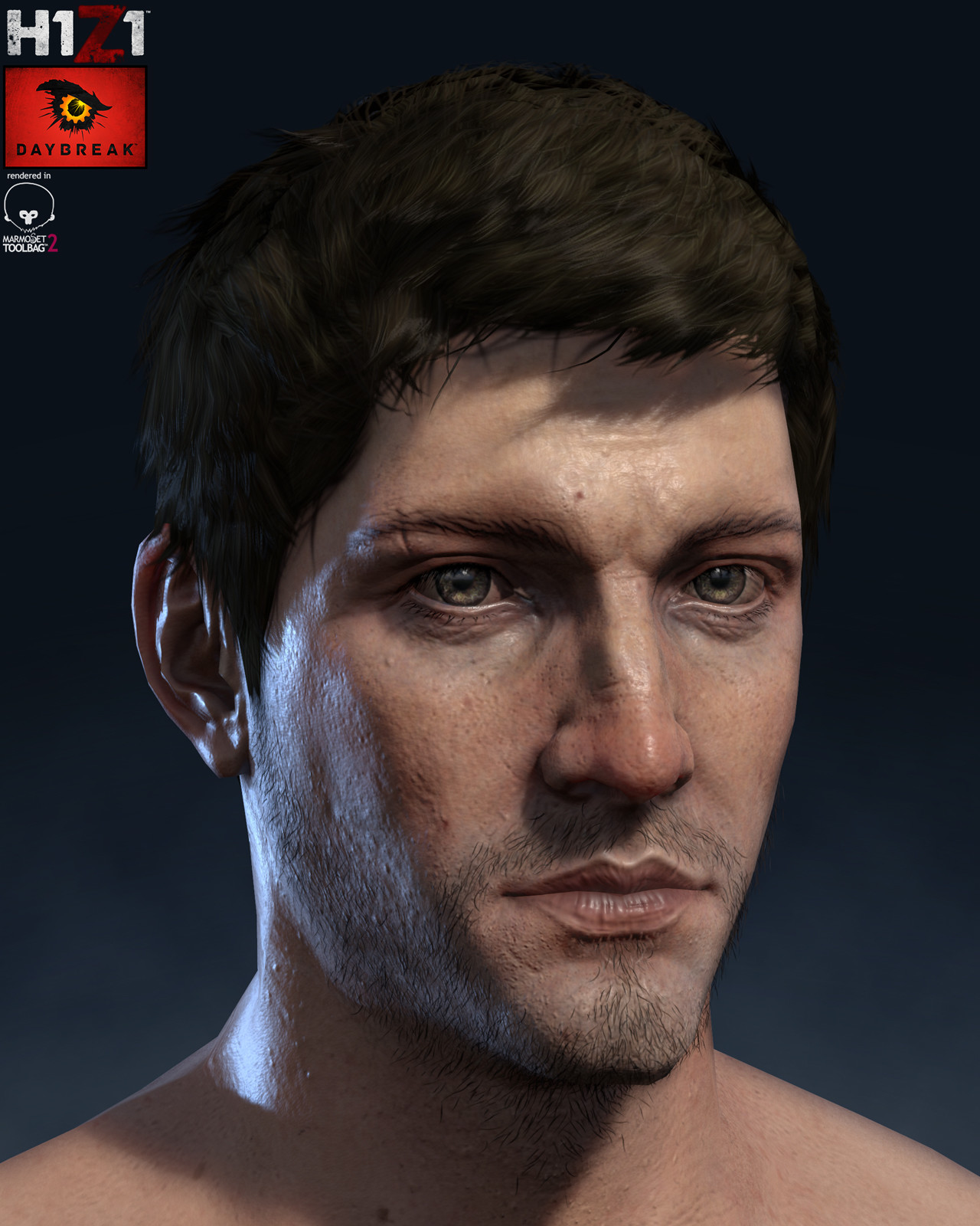 H1Z1 Human Male Head Render WIP