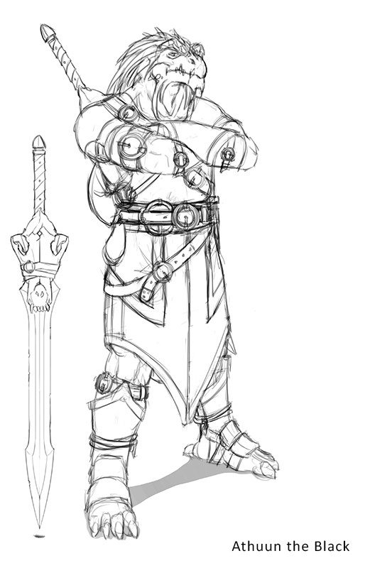 Work in progress - He needs a sword with a wolf skull hilt.