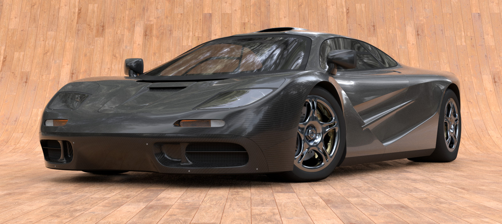 A car with carbon fibers body