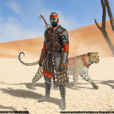 Travis lacey african africa frantasy tracker medieval soldier knight ravenseyestudios