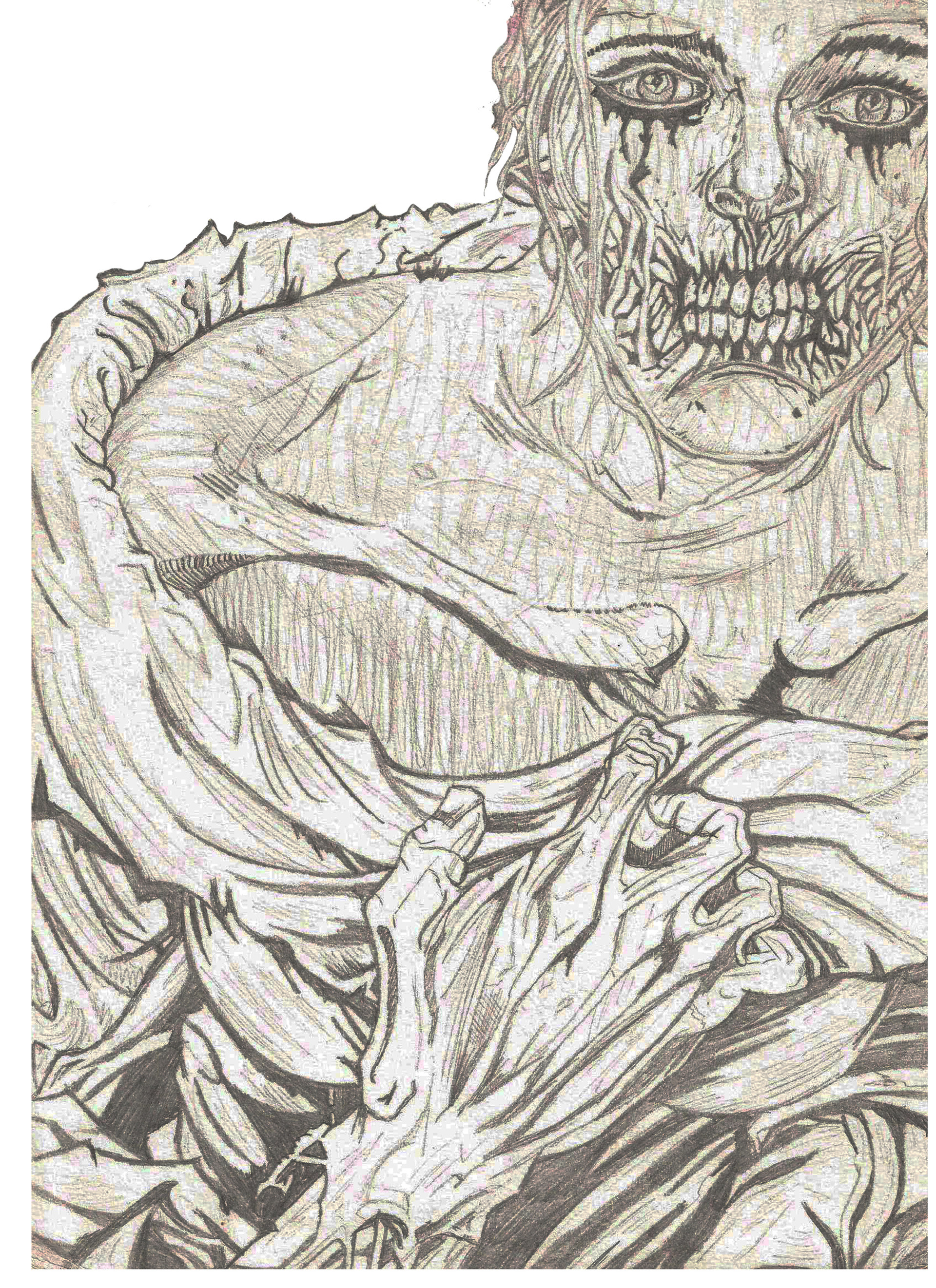 Old zombie pencil drawing