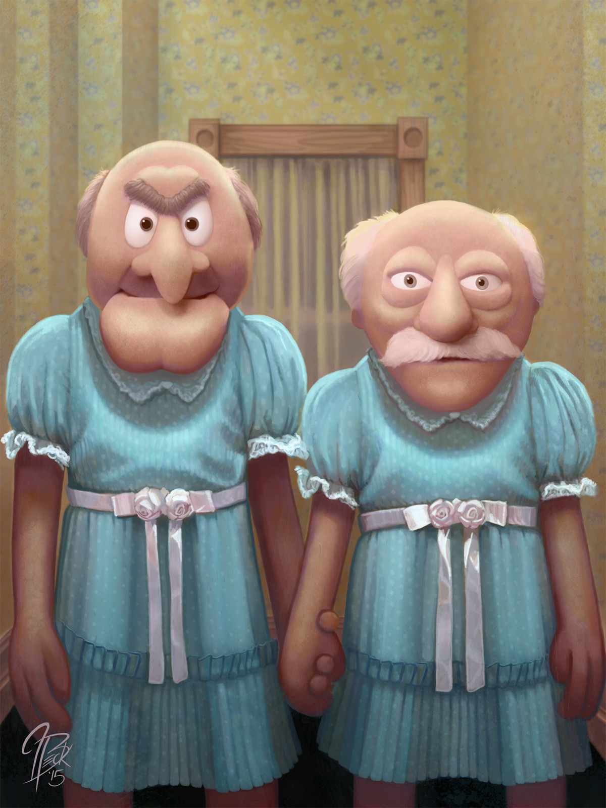 Statler and Waldorf as The Grady Twins