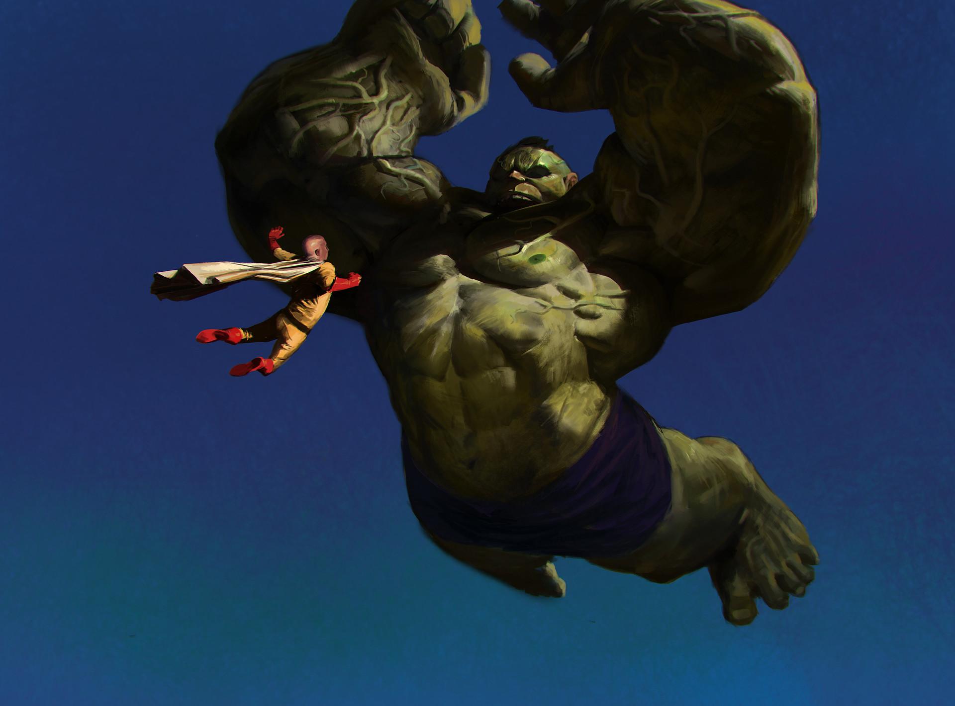 artstation hulk vs saitama jason kang