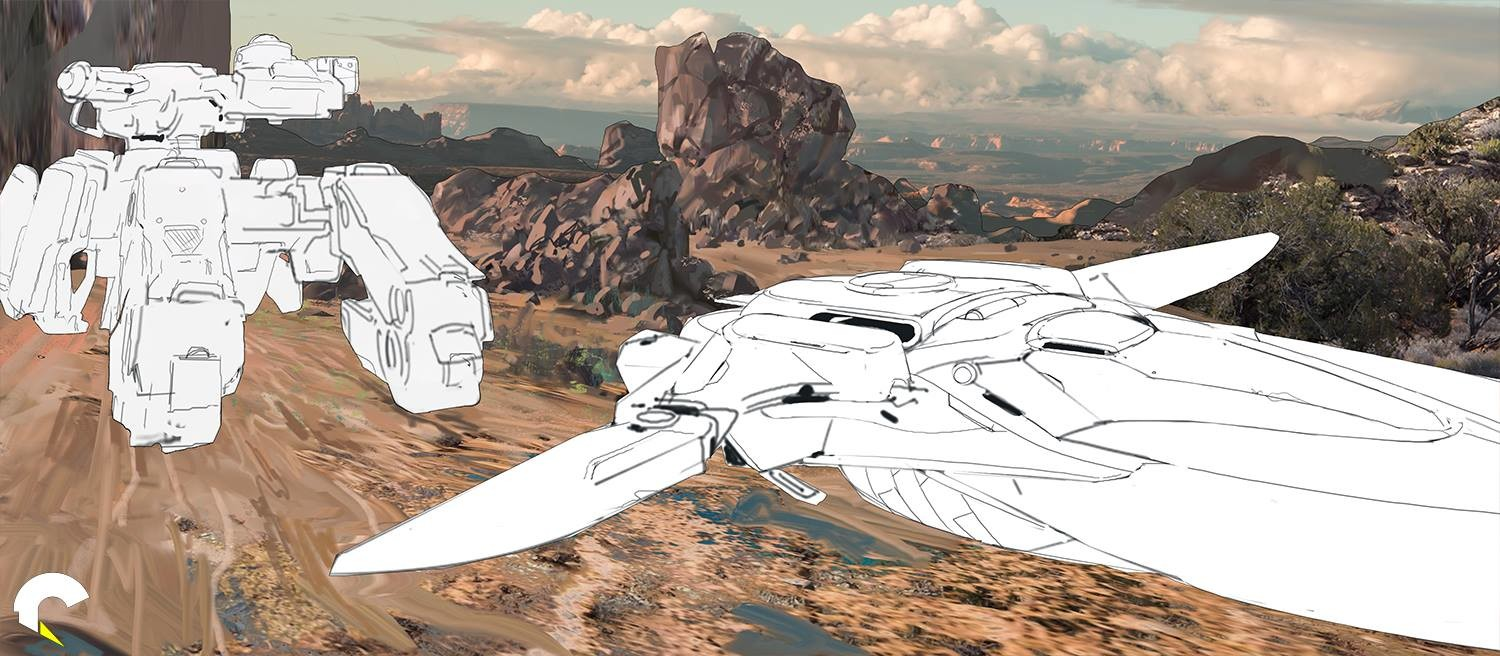 Background painted with line art for the main vehicles