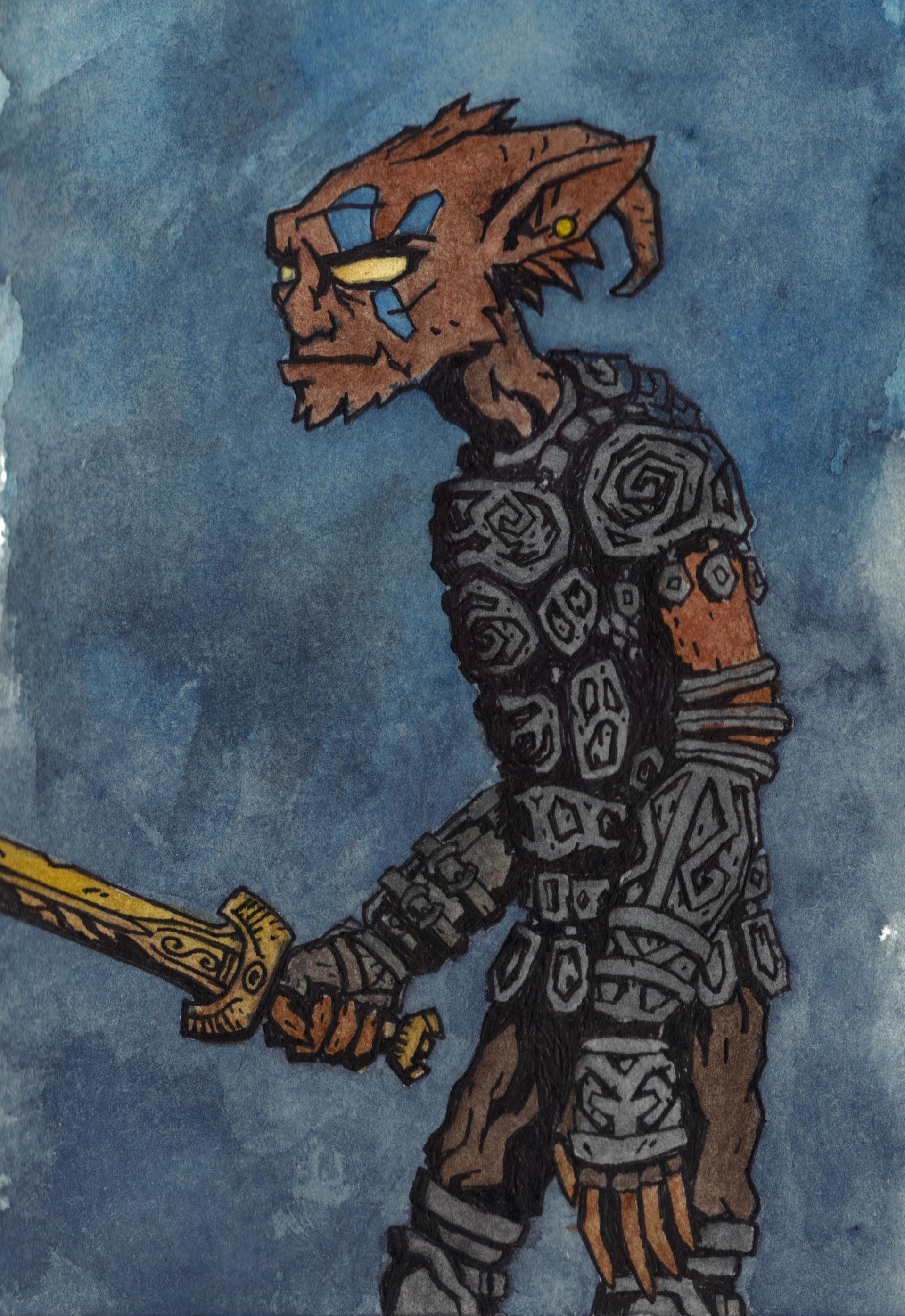 Patrick weck goblin warrior watercolor