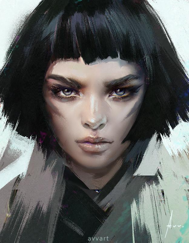 Artstation Black Hair Aleksei Vinogradov