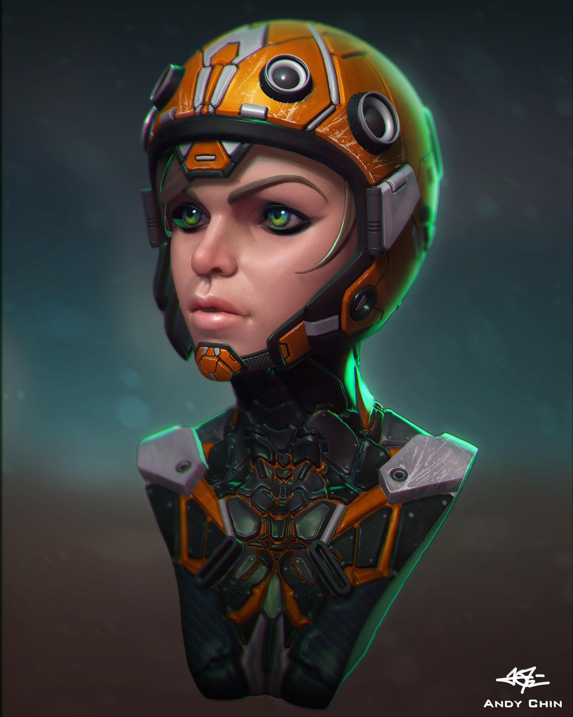 Cyberpunk sci-fi girl, an art print by Dmitry Kaidash - INPRNT