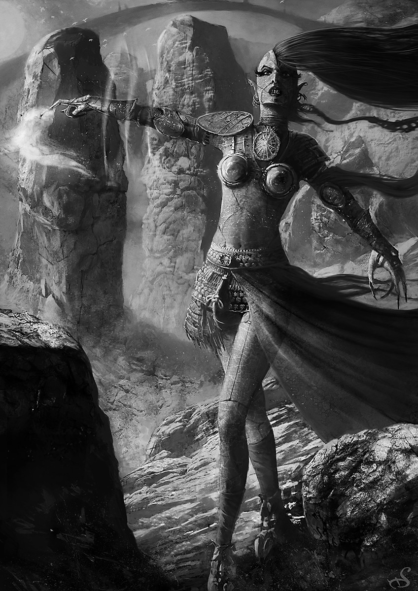 Sebastien ecosse black and white illustration reptilian enchantress circle sebastien ecosse character design