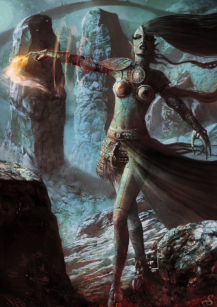 Sebastien ecosse illustration reptilian enchantress circle sebastien ecosse character design