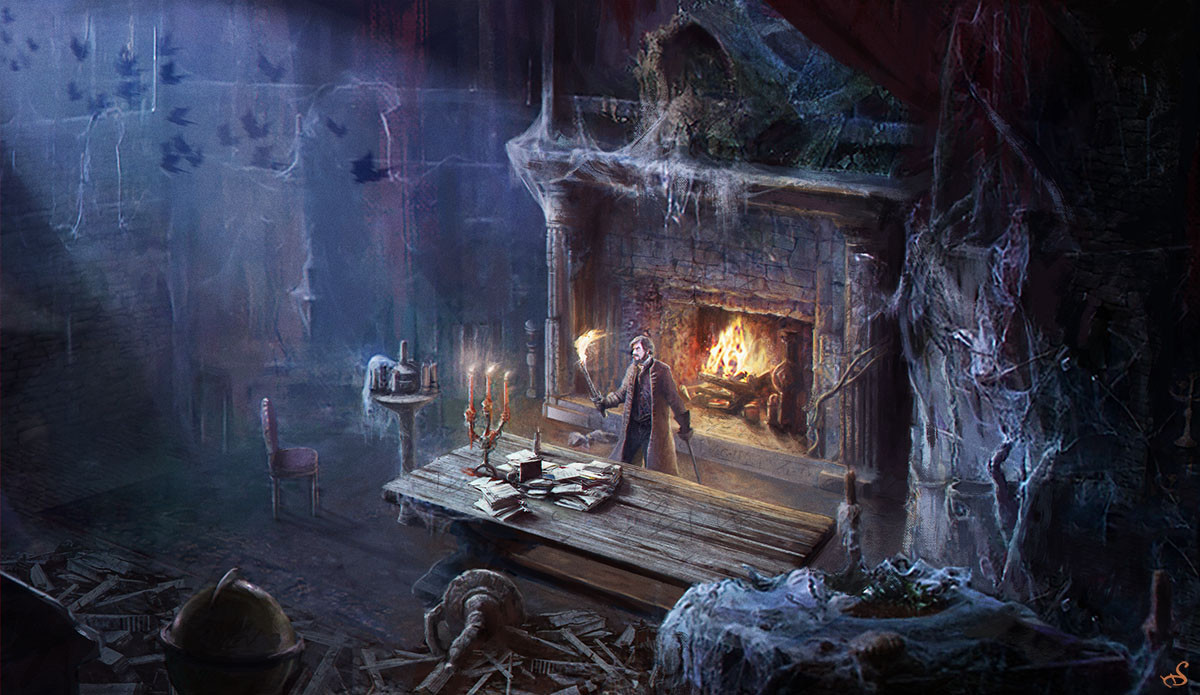 Sebastien ecosse poe sebastien ecosse haunted castle poem illustration living room attic web