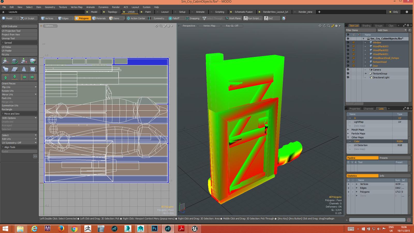Door, Window and wood planks to be duplicated in scene