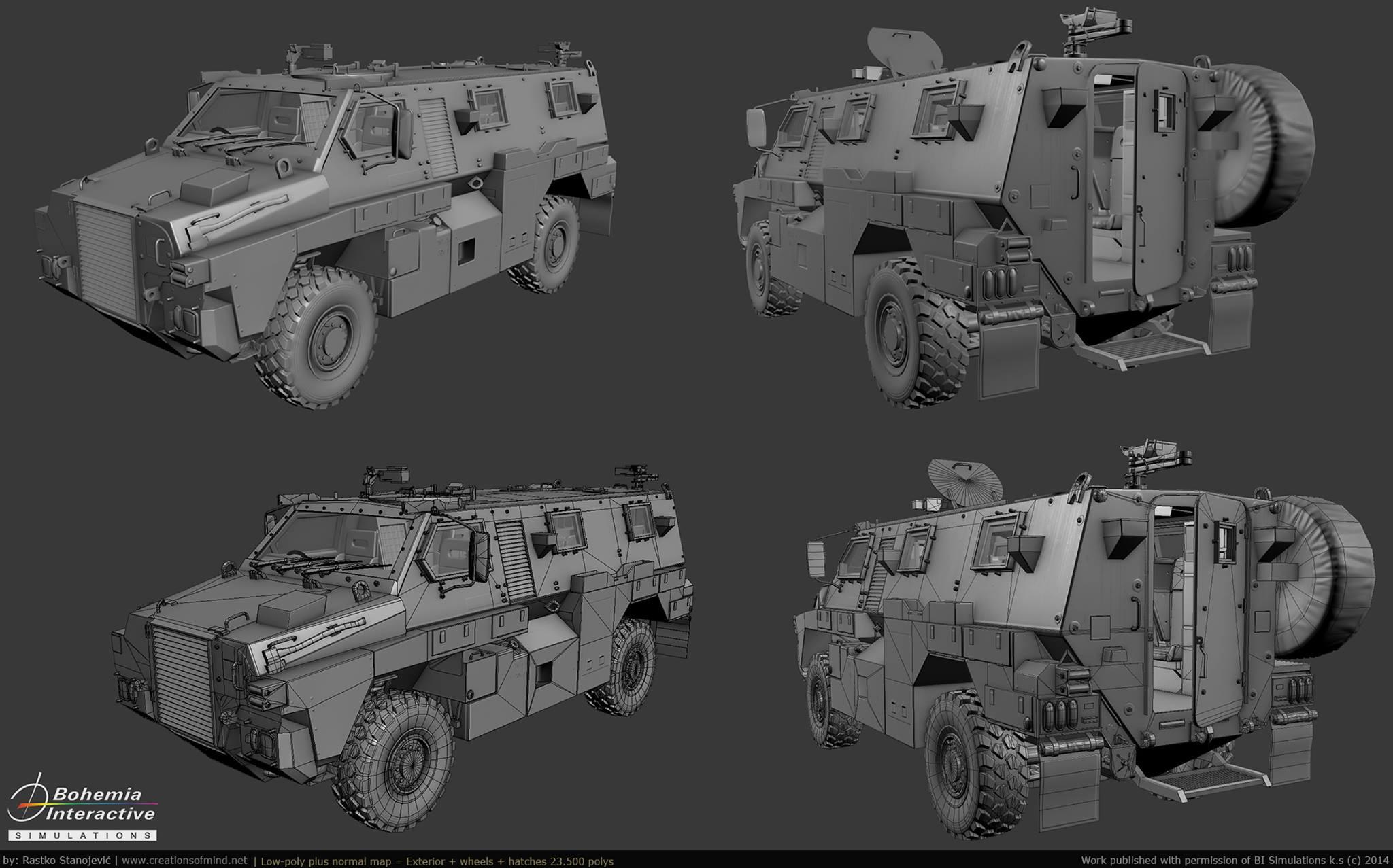 Bushmaster low poly Exterior + interior + engine 60.000k triangles