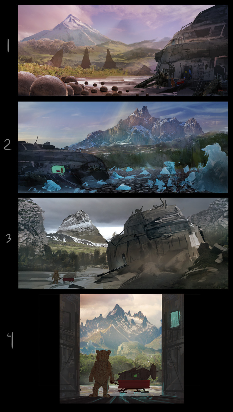 Color sketches. We went with a combination of 1 and 2 for the final image.