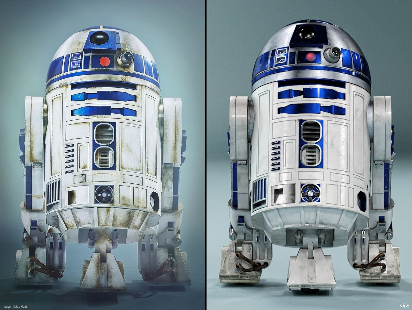 A comparison shot with my CG droid (on the right) against the The Force Awakens physical build (on the left).