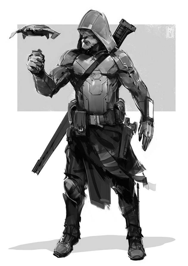 Artstation Futuristic Assassin Sketch Borislav Mitkov
