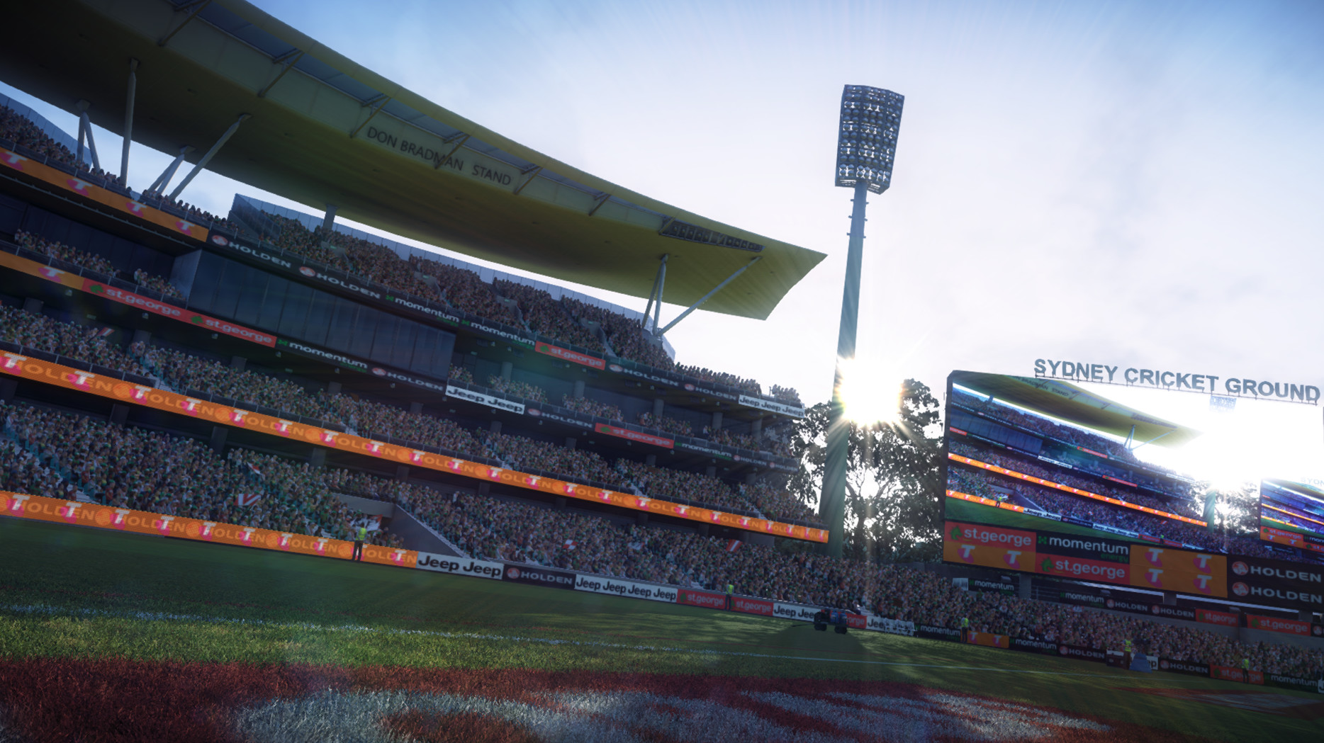 New Sydney cricket ground stand, field grass for all stadiums, trees and sun sprite.