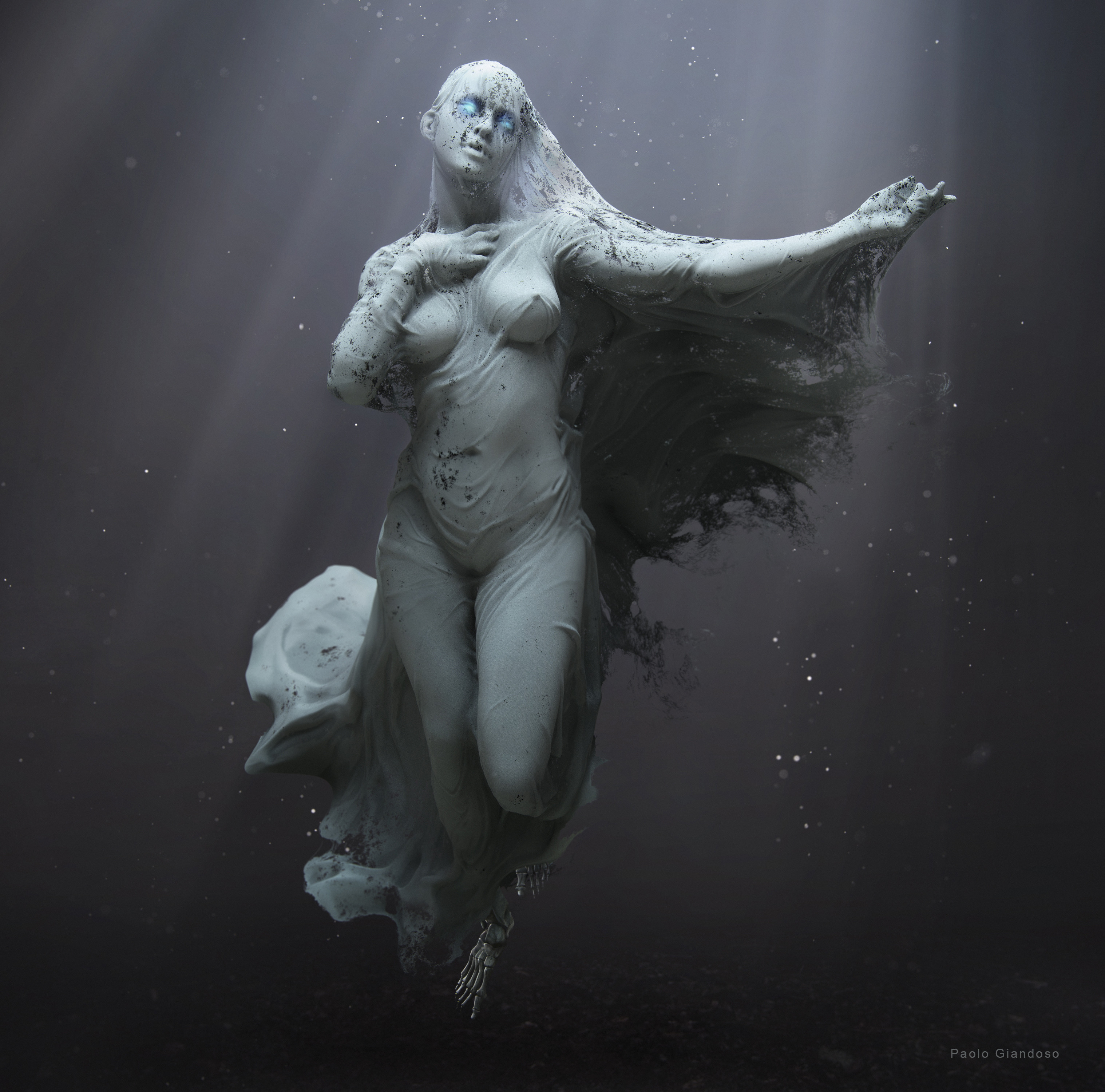 Variation 01: When Pale Night wants to reveal her true form, her shroud quickly begin rotting until nothing is left of it.