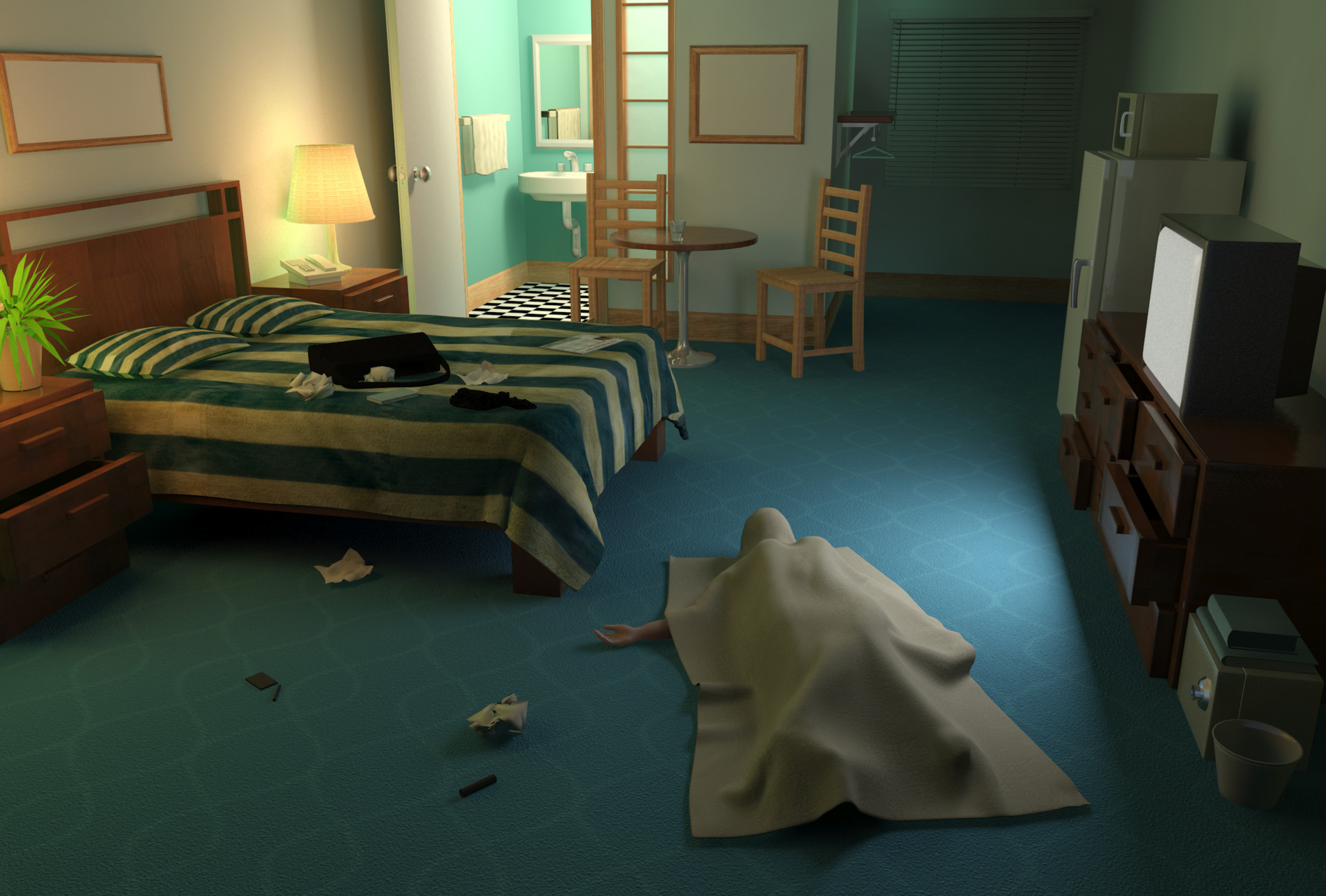 Motel Room scene (not final scene in game. Final was modified by another artist)