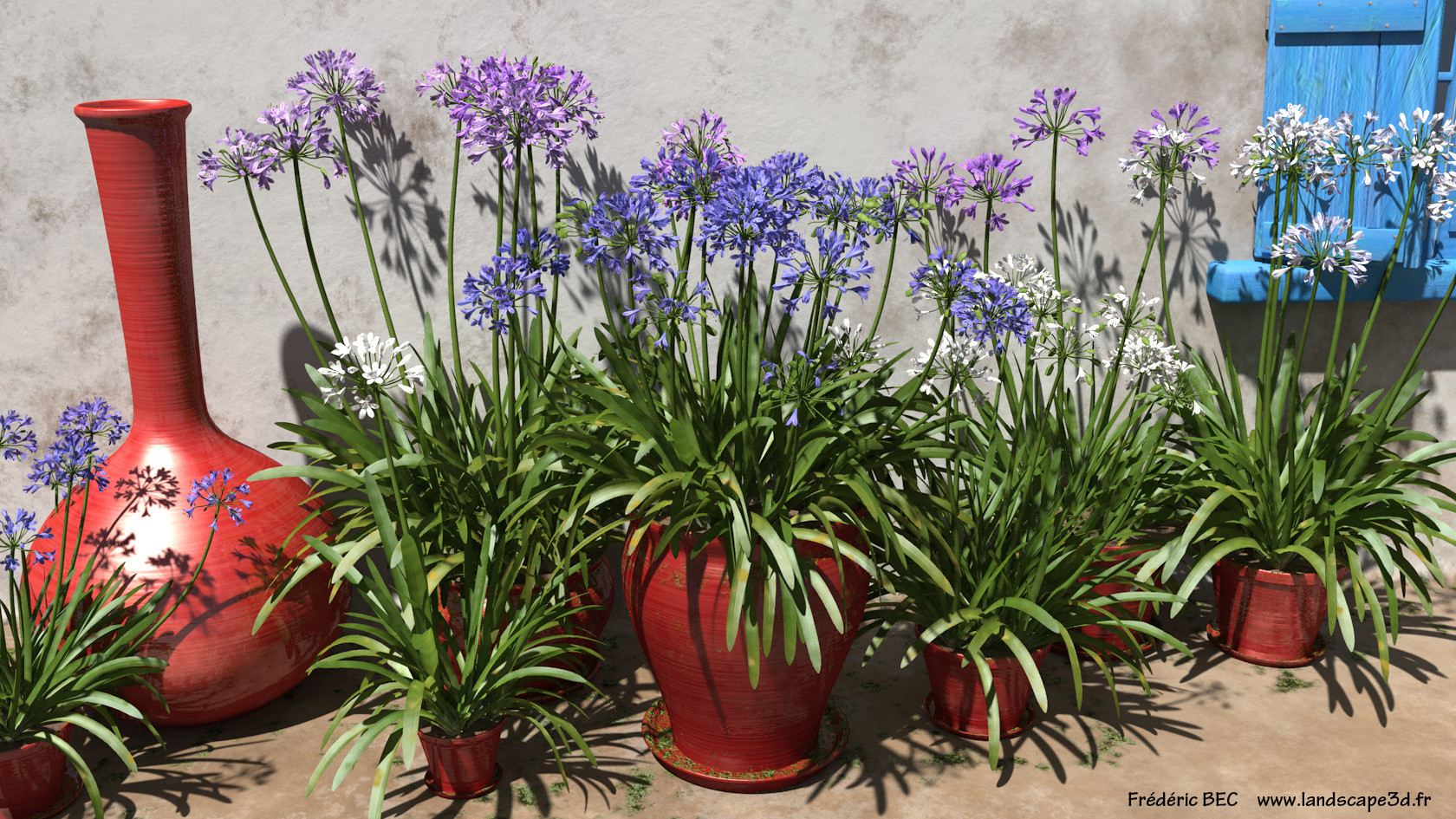 Artstation 3d flowers in pot agapanthus x praecox lilly of the scroll to see more izmirmasajfo Images