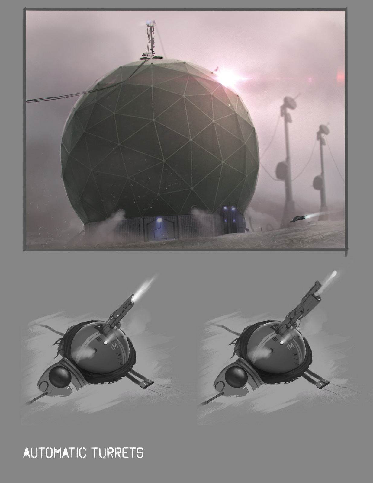 Modular space dome + turrets concepts