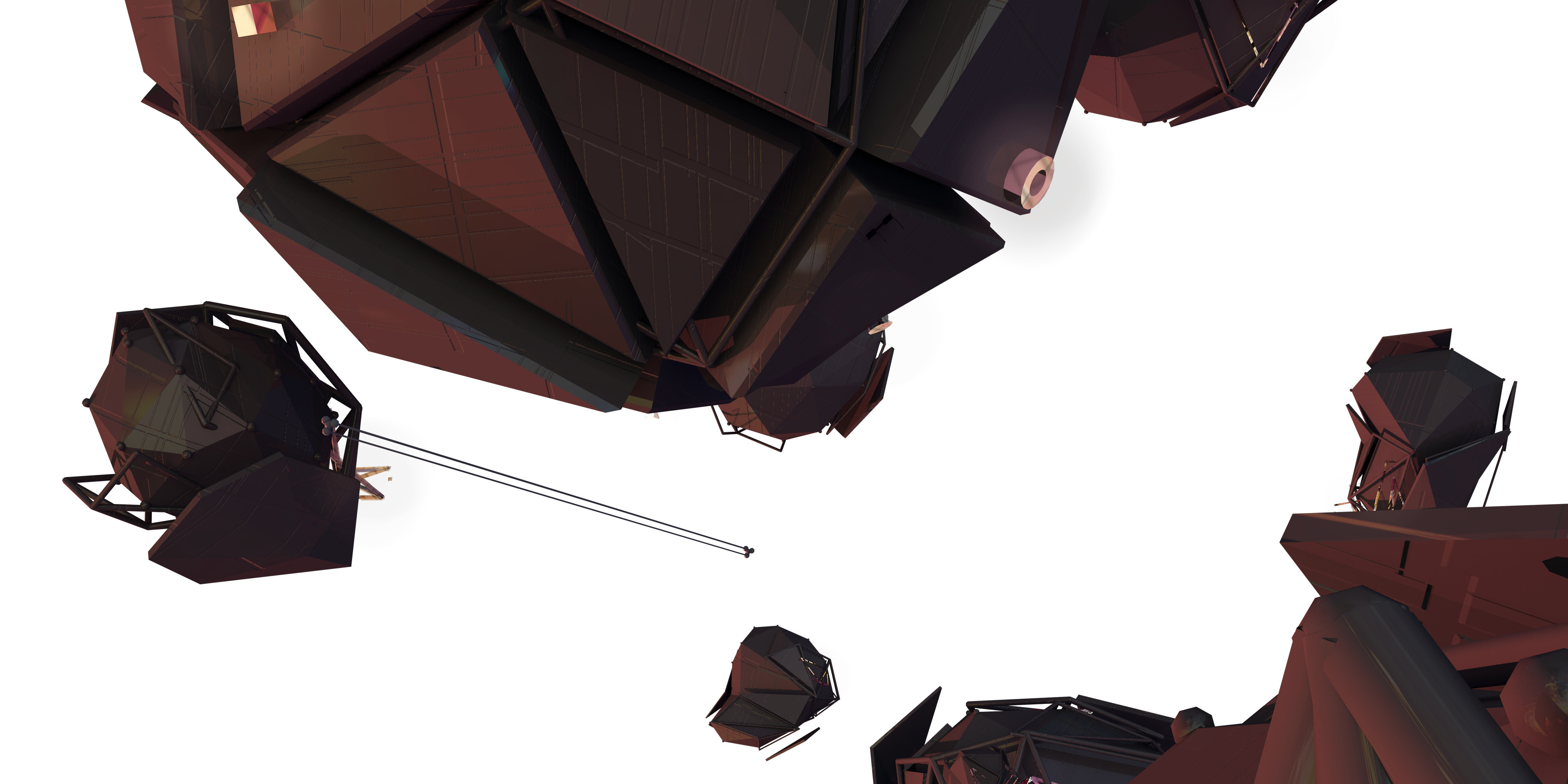 The 3D meteors made in c4d