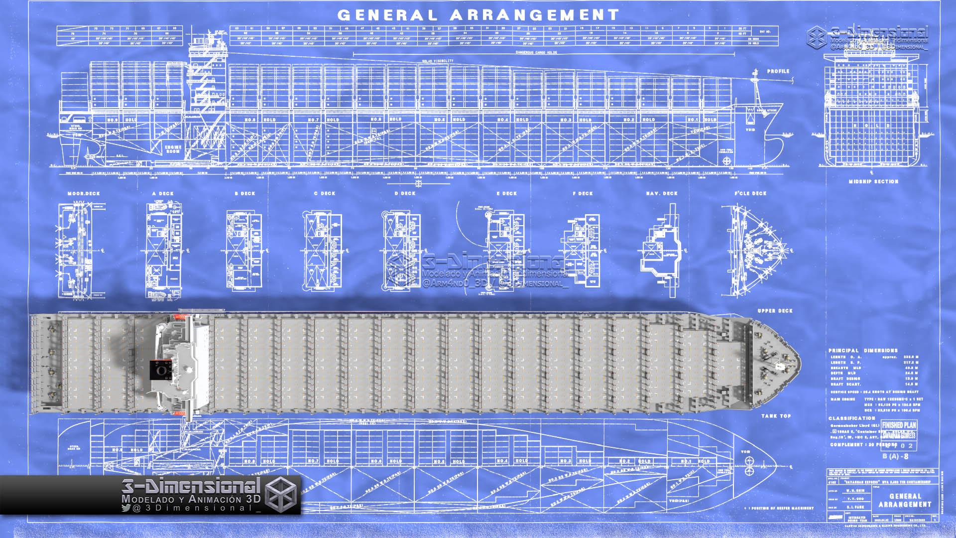 Cargo Ship Blueprint : ️ dimensionarte container ship savannah express
